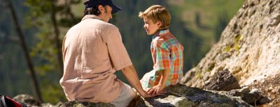 Dad and Son on mountain
