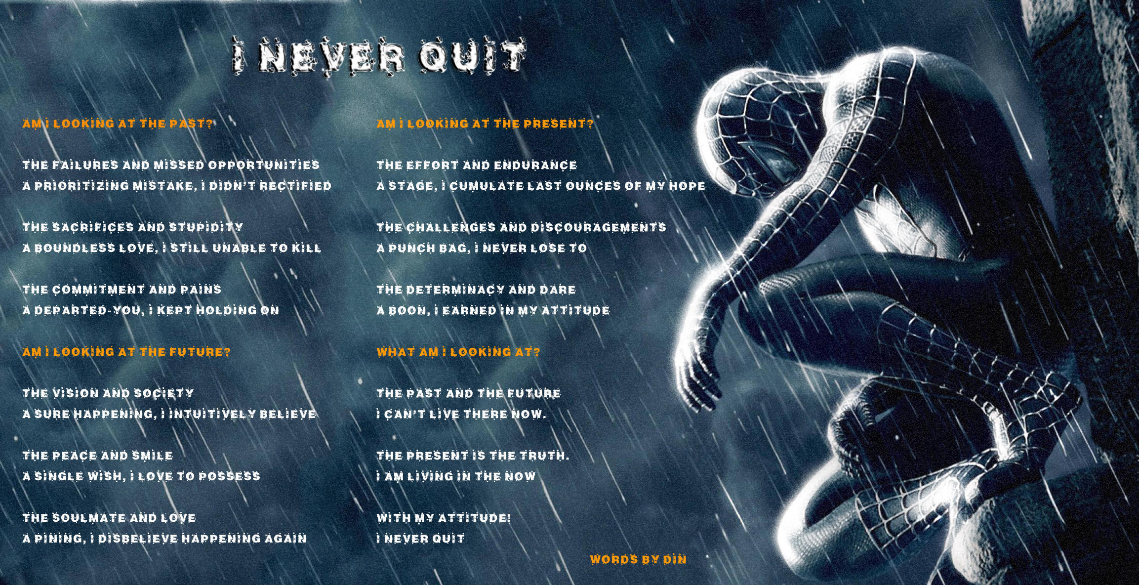 never quit Never quit is the true story of how jimmy settle, an alaskan shoe-store clerk, became a special forces operator and war hero after being shot in the head during a .