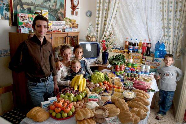 Italy, Palermo The Manzo family spends around $295 per week.