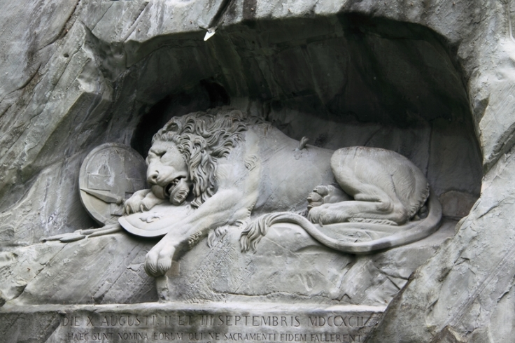 Dying Lion of Lucerne (The tale and this image has no link, Just for suitability of graphic, it is used)