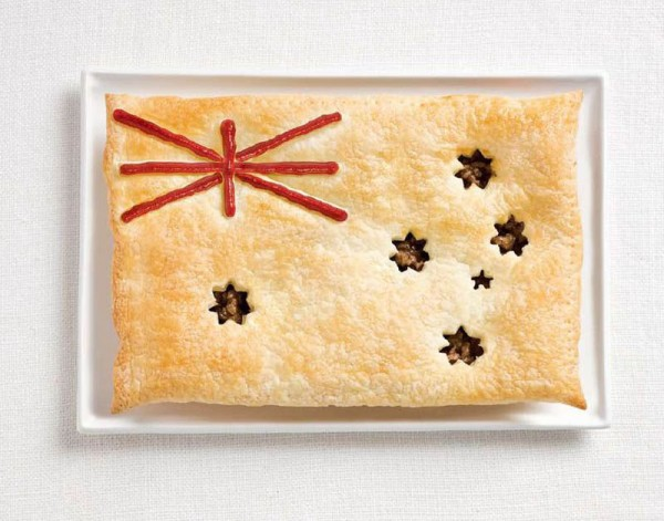 Australia's flag made from meat pie and sauce.