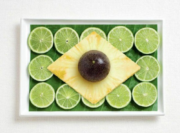 Brazil's flag made from banana leaf, limes, pineapple and passion fruit.