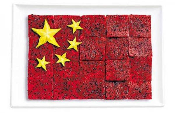China's flag made from pittaya/dragon fruit and star fruit.