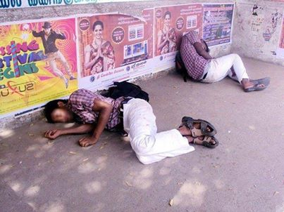 Some School Kids Drunk and Fallen roadside in India