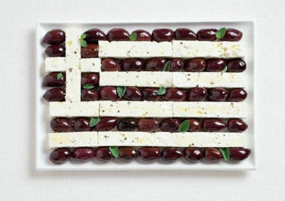 Greece's flag made from Kalamata olives and feta cheese.