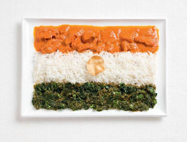 India's flag made from curries, rice, and pappadum wafer.