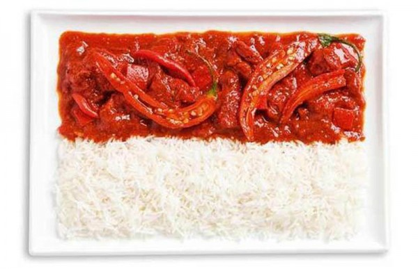 Indonesia's flag made from spicy curries and rice (Sambal).