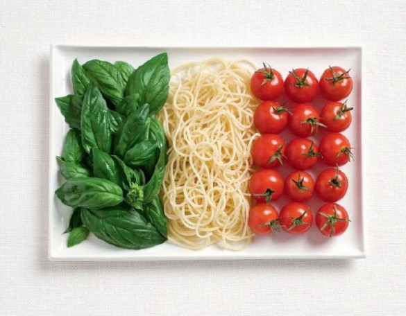Italy's flag made from Basil, pasta, and tomatoes.