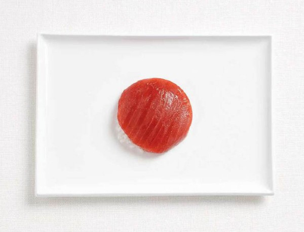 Japan's flag made from tuna and rice.