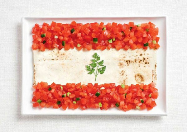 Lebanon's flag made from lavash, fattoush and herb sprig.
