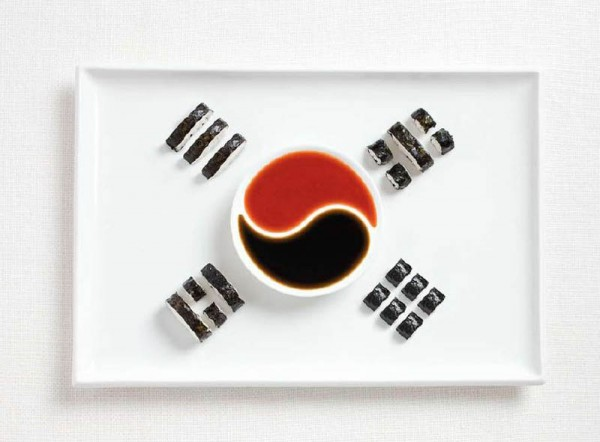 South Korea's flag made from Kimbap and sauces.