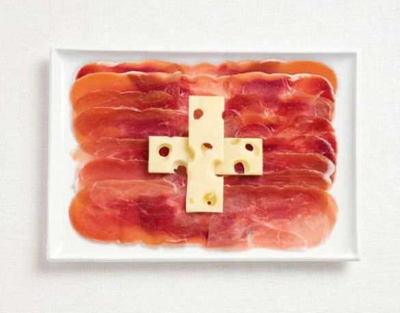 Switzerland's flag made from charcuteries and emmental.