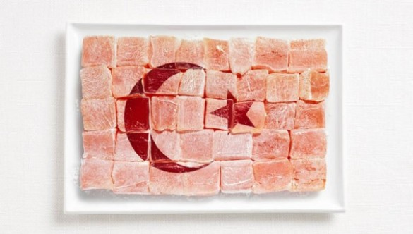 Turkey's flag made from Turkish Delights (Lokum).