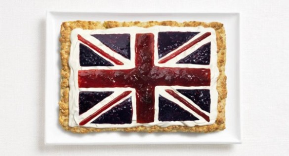 United Kingdom's flag made from scone, cream and jams.