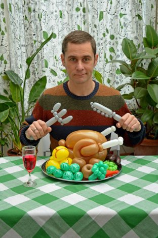 """""""Rob with a balloon roast dinner and cutlery"""""""