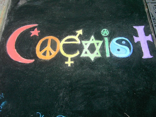 COEXIST with all - A Lovely drawing on a blackboard by school kids