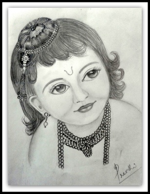 A sample of her work. Hindu God : Baby Krishna