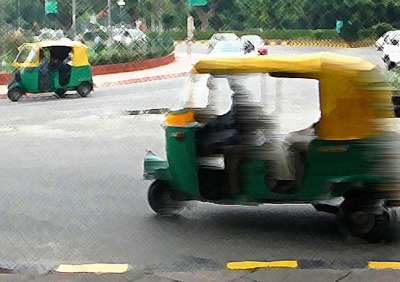 Indian tuk-tuk running on compressed natural gas