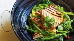 MODERN ASIAN Chilli and orange grilled tofu with Asian greens