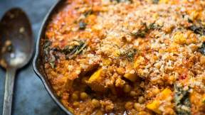 "MODERN AUSTRALIAN Chickpea, pumpkin and cavolo nero ""cassoulet"""