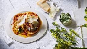 ITALIAN Broccoli and mascarpone ravioli with anchovy, chilli and lemon