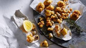 ITALIAN Chickpea and caraway seed battered cauliflower, black olives and rosemary