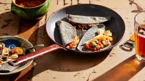 MEXICAN Blue corn quesadillas with mushrooms (quesadillas azules con hongos)