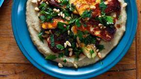 MIDDLE EASTERN Haloumi with baba ganoush and pomegranate dressing