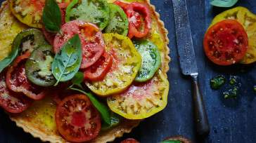MODERN AUSTRALIAN Ricotta and balsamic tart with heirloom tomatoes