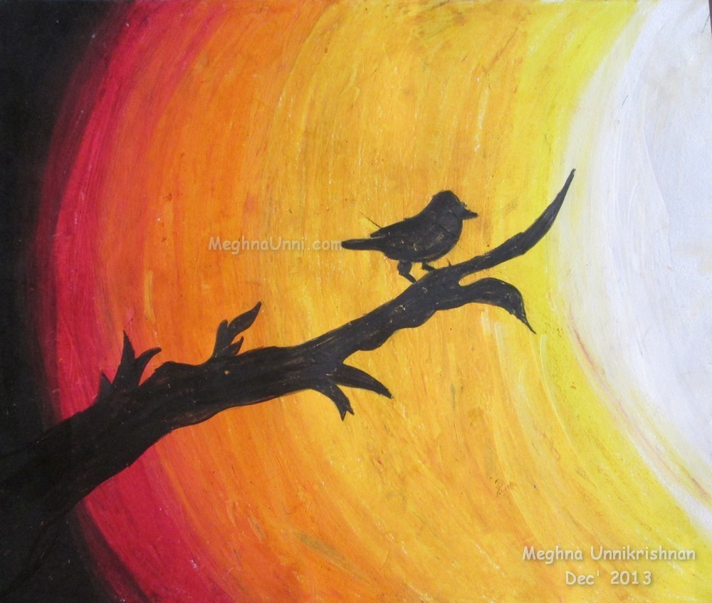 Sunset bird propel steps for How to paint something easy