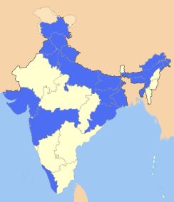 Indian regions in blue were inundated with floods for 6 weeks of havoc starting with the first week of July